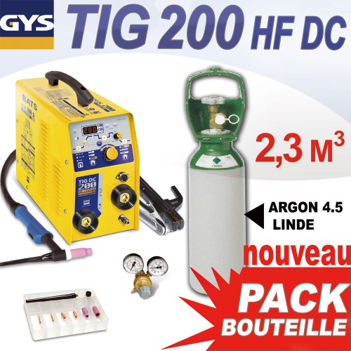 pack tig 200 hf dc avec bouteille gaz 2 3 m3. Black Bedroom Furniture Sets. Home Design Ideas