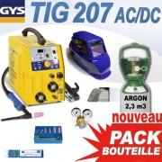 PACK TIG 207 AC/DC avec bouteille + accessoires - GYS - soudure alu / acier / inox
