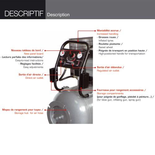 compresseur coaxial 50l 230v 8 bars 13 8 m3 h. Black Bedroom Furniture Sets. Home Design Ideas