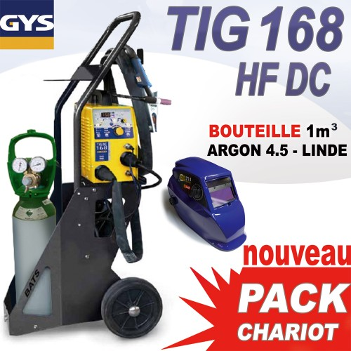 pack chariot tig 168 hf dc avec bouteille gaz 1 m3 masque. Black Bedroom Furniture Sets. Home Design Ideas