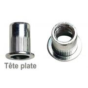 INSERTS  M6  ACIER  pour plaque  0,5 à 3 mm - Tête plate  - 50 pièces