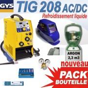 PACK TIG 208L AC/DC avec bouteille + accessoires - GYS - soudure alu / acier / inox