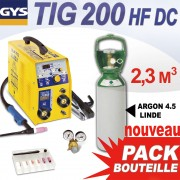 PACK TIG 200 HF DC avec Bouteille gaz 2.3 m3
