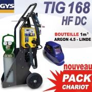 PACK chariot TIG 168 HF DC avec Bouteille gaz 1 m3 + masque